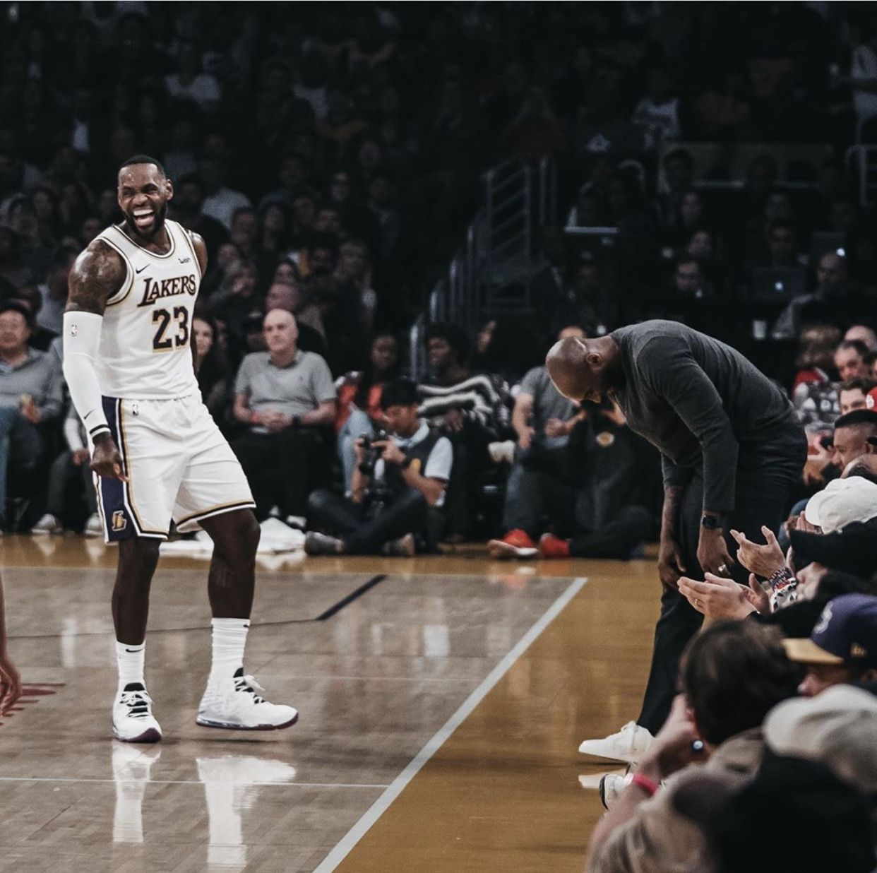 Lebron James And Kobe Sharing A Moment At The Lakers Game This