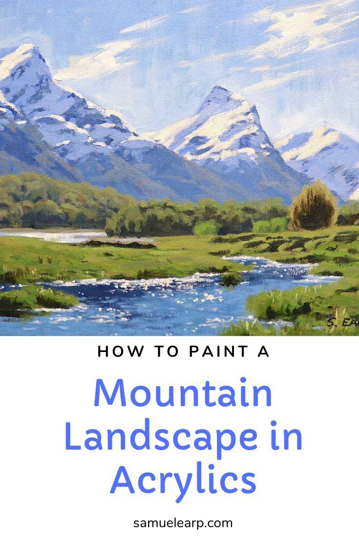 How to Paint a Mountain Landscape in Acrylics is part of Mountain landscape painting, Acrylic painting tips, Landscape paintings acrylic, Painting, Watercolor landscape paintings, Watercolor paintings tutorials - In this step by step painting tutorial I show you how to paint a mountain landscape in acrylics  I will show you the design behind the composition, the colors used, the blockingin process, building up the detail and then adding the final details that will make the painting come to life  I also expl