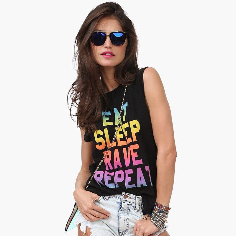 Are you a party animal? Eat, Sleep, Rave and Repeat! Show the world that you love Raves by wearing this awesome shirt. Material: Cotton