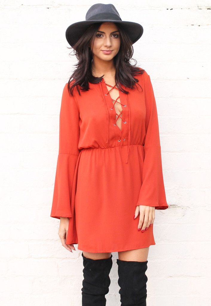 5b3f7ac4389 Lace Up Detail 70s Skater Dress with Bell Sleeves in Burnt Orange - One  Nation Clothing - Glamorous - 1