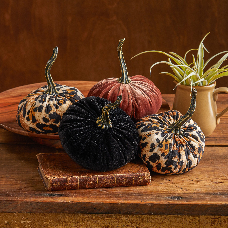 Fabric Pumpkins Set of 4, leopard print, rustic coffee ...