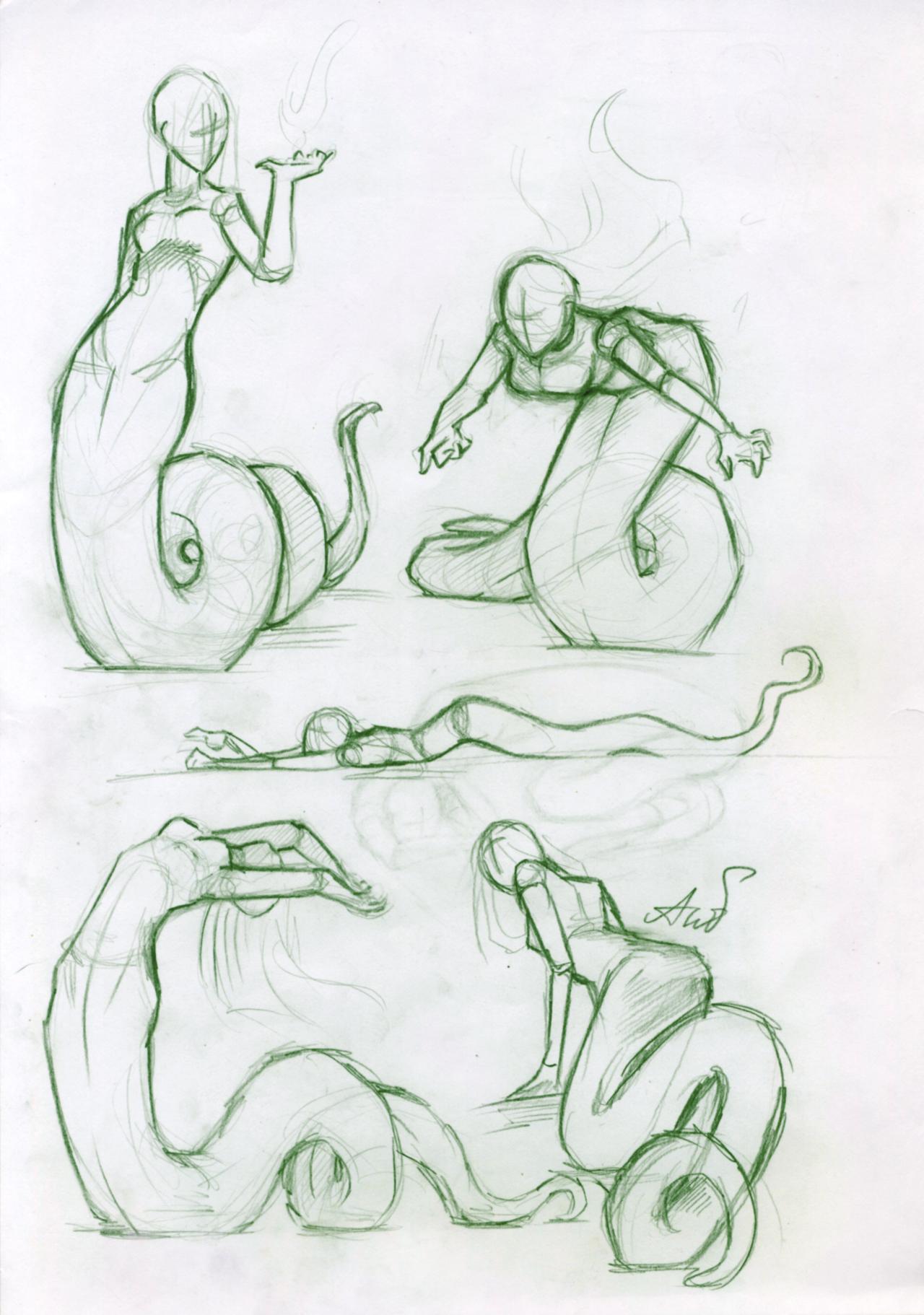 Sketches_nagas by AshiPhoenix on DeviantArt