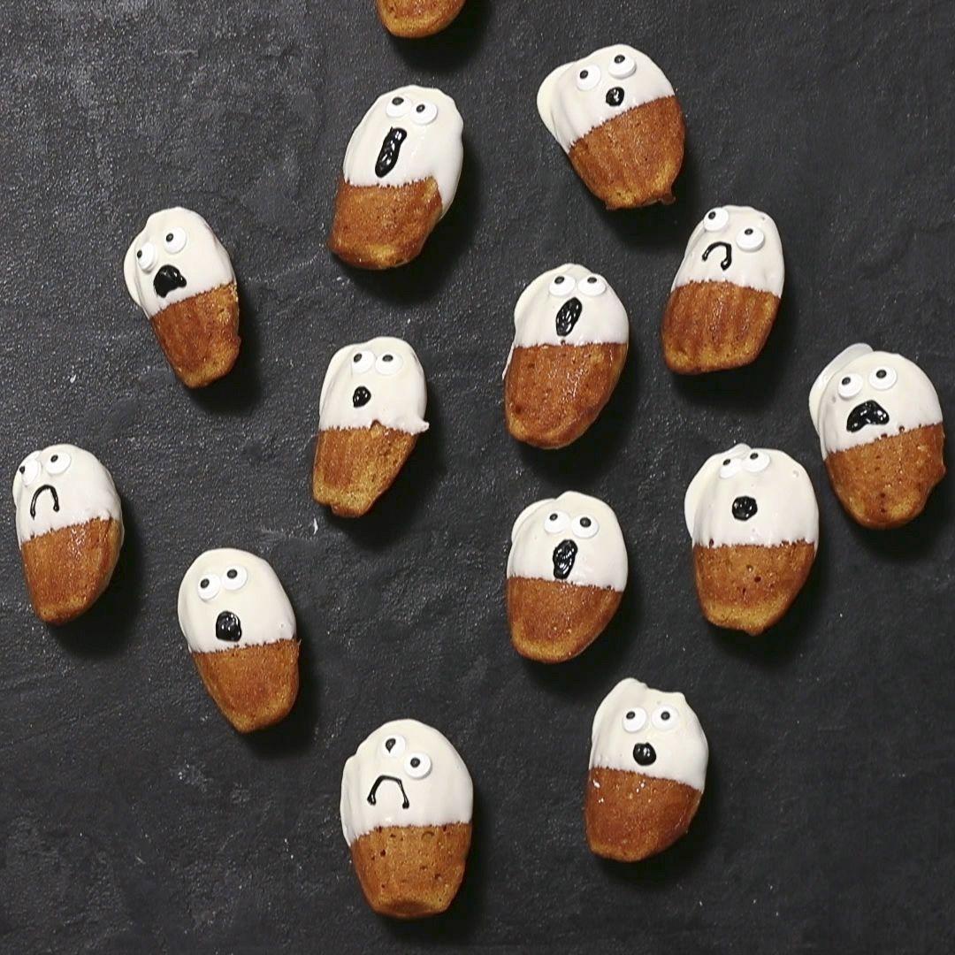 Pumpkin Cookie Recipe Madeleine Ghosts for Halloween