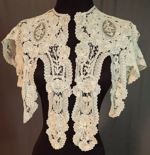 Antique-Hand-Made-Brussels-Rose-Point-de-Gaze-Duchesse-Bobbin-Lace-Shawl-Collar