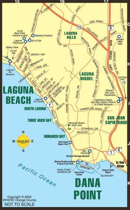 Dana Point California Map Laguna Beach Tourist Map   Laguna Beach • mappery | Laguna beach