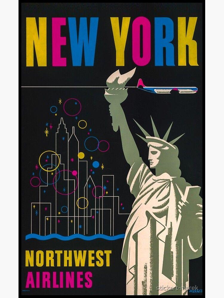 New York Vintage Travel Poster Kunstdruck Von Stickart Marek In