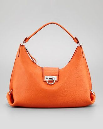 cd5fd5798d Salvatore Ferragamo Fanisa Gancini Hobo Bag Orange Salvatore Ferragamo