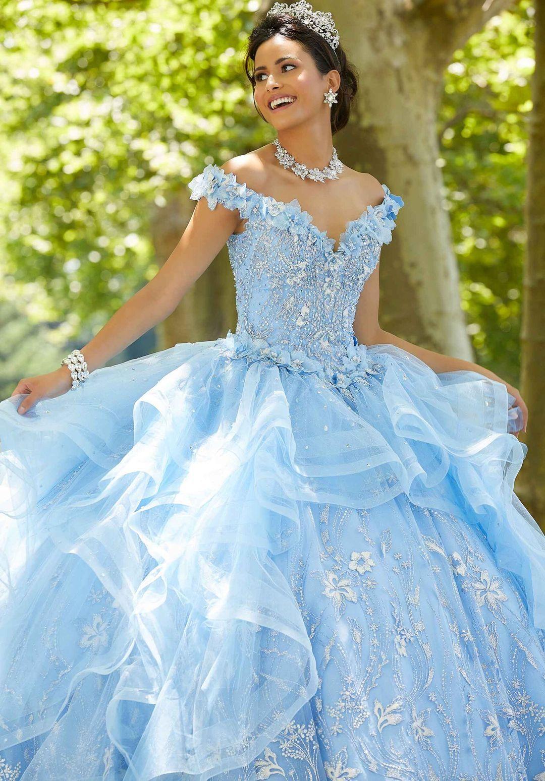 Ruffled Quinceanera Dress By Mori Lee Vizcaya 89303 In 2021 Quinceanera Dresses Light Blue Quinceanera Dresses Pretty Quinceanera Dresses [ 1549 x 1080 Pixel ]