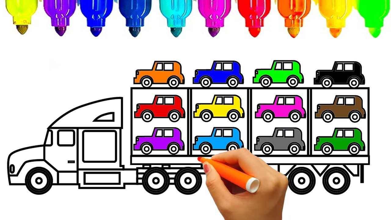 How to Draw Car carrier Truck Coloring Pages , Kids Learn Drawing ...