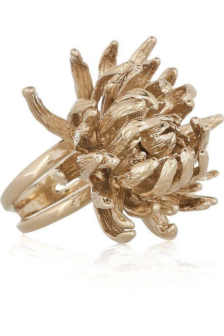 Alexander McQueen Brass Flower Ring