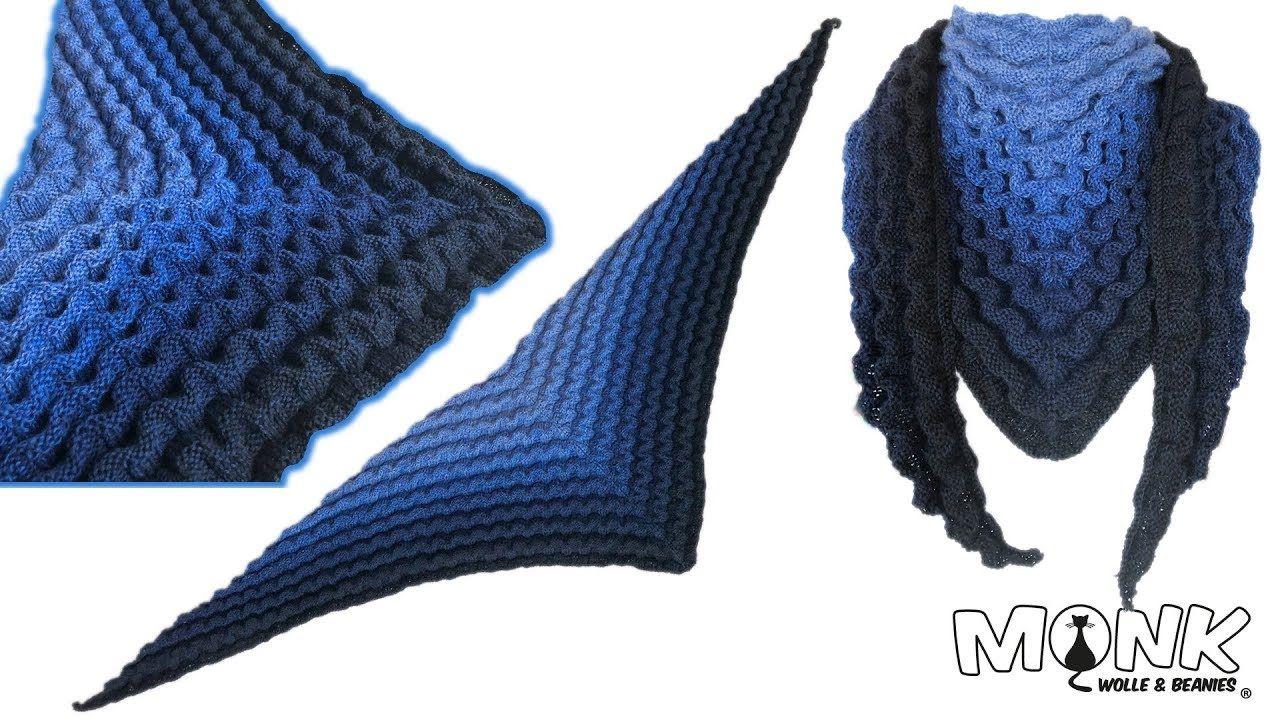 Dreieckstuch Nautilus im Wellenmuster stricken | Stricken ...