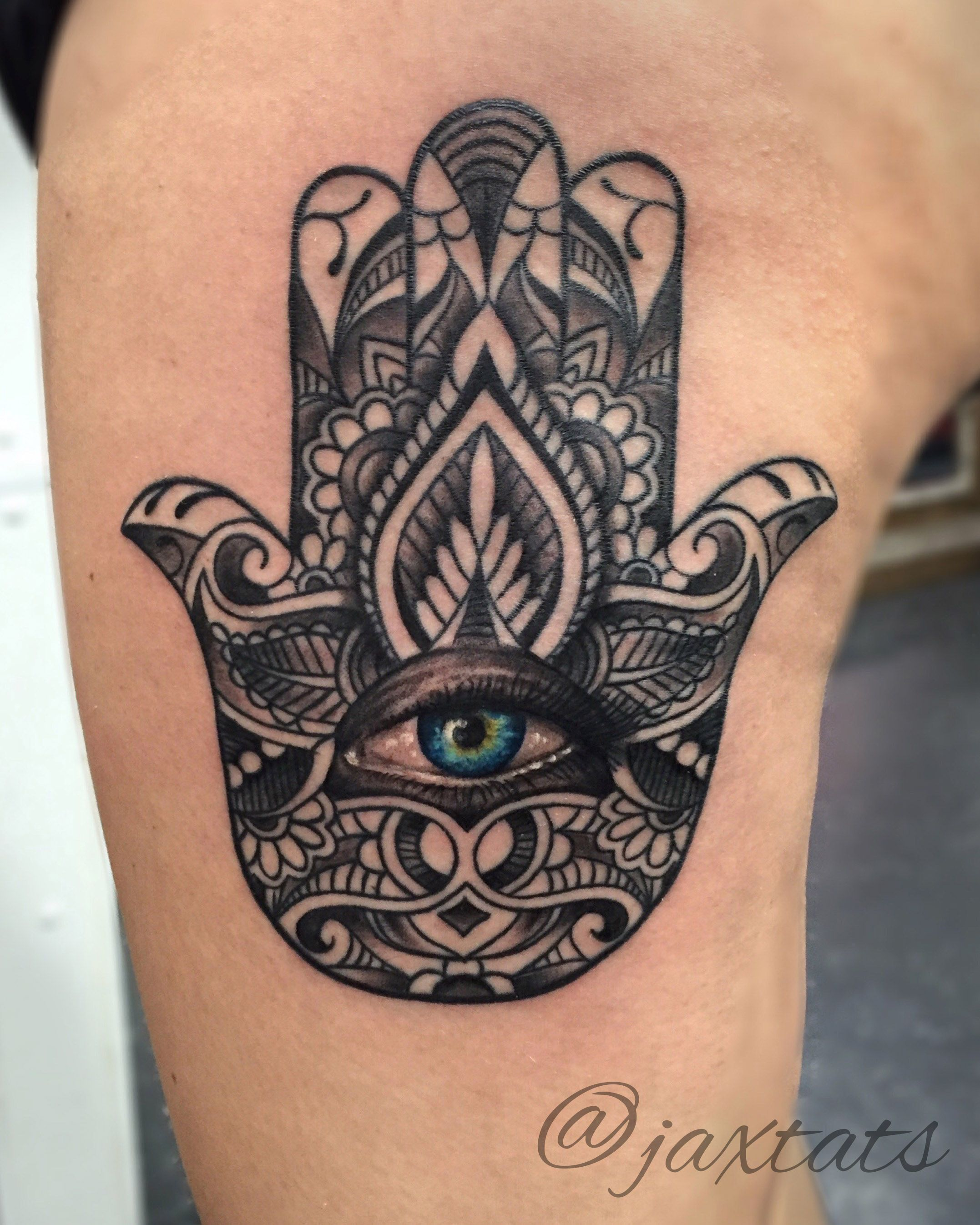 Hamsa Hand Tattoo With Realistic Blue Eye Girlswithtattoos Ink