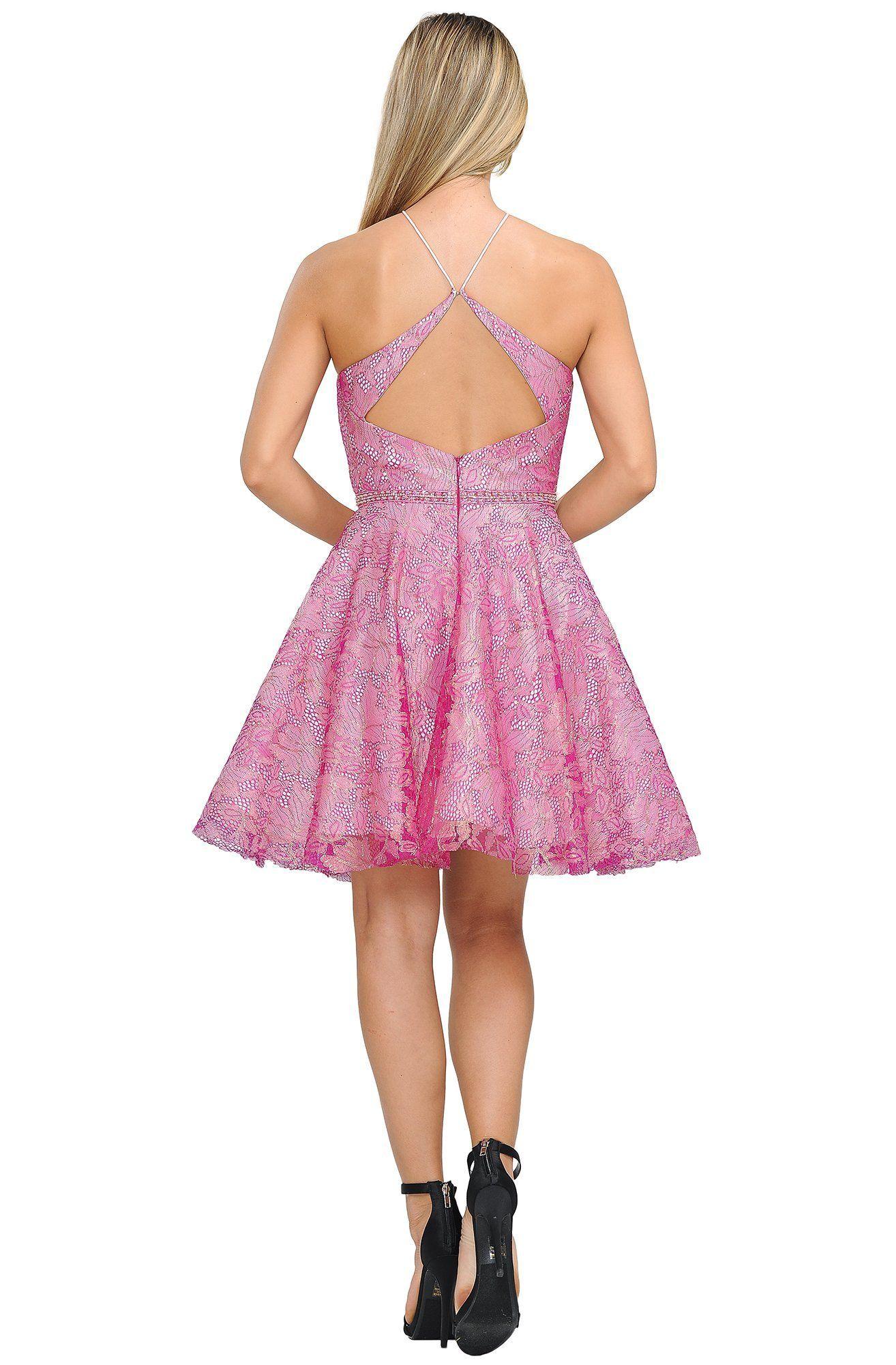 Poly USA - 8506 Halter Neck A-line Cocktail Dress #backlesscocktaildress