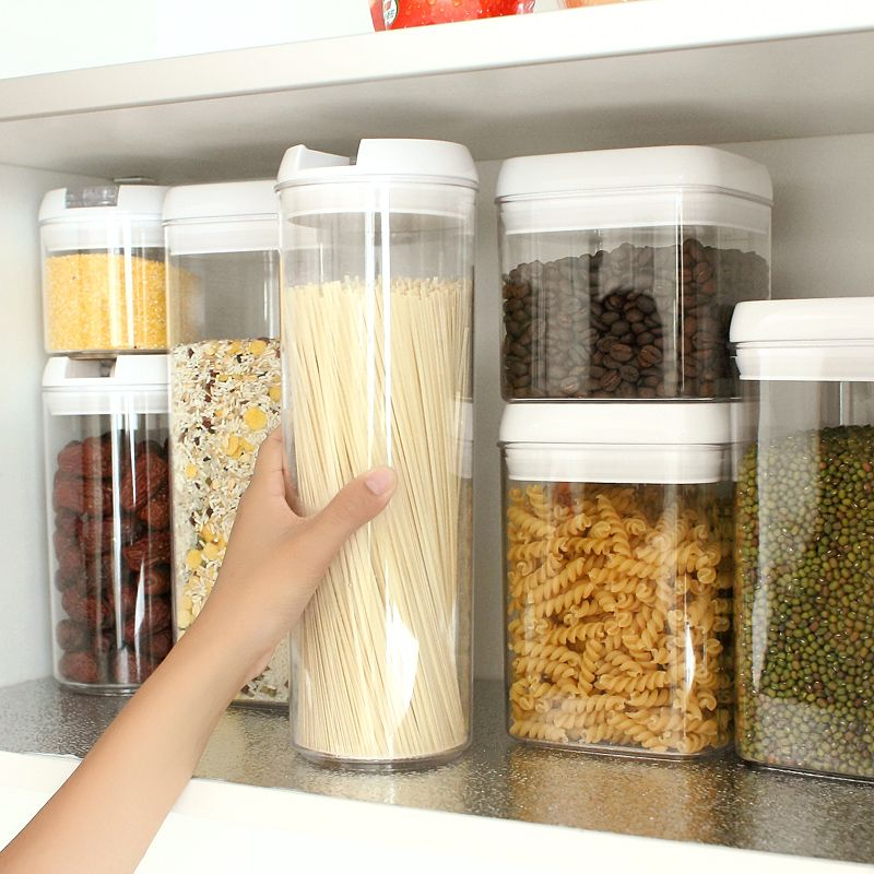 Transparent Plastic Food Containers Seal Pot Milk Boxes Kitchen Storage  Containers Food Cans Storage Tank Tea