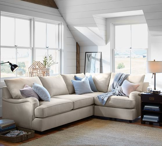 Comfortable Corner Sofa Ideas Perfect For Every Living: PB Comfort English Roll Arm Upholstered 3-Piece Sectional