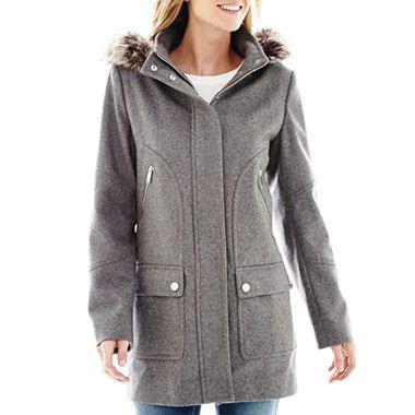 1c6fd383115d2 jcpenney.com | a.n.a® Faux-Fur Trim Hood Wool-Blend Coat | Stitch ...