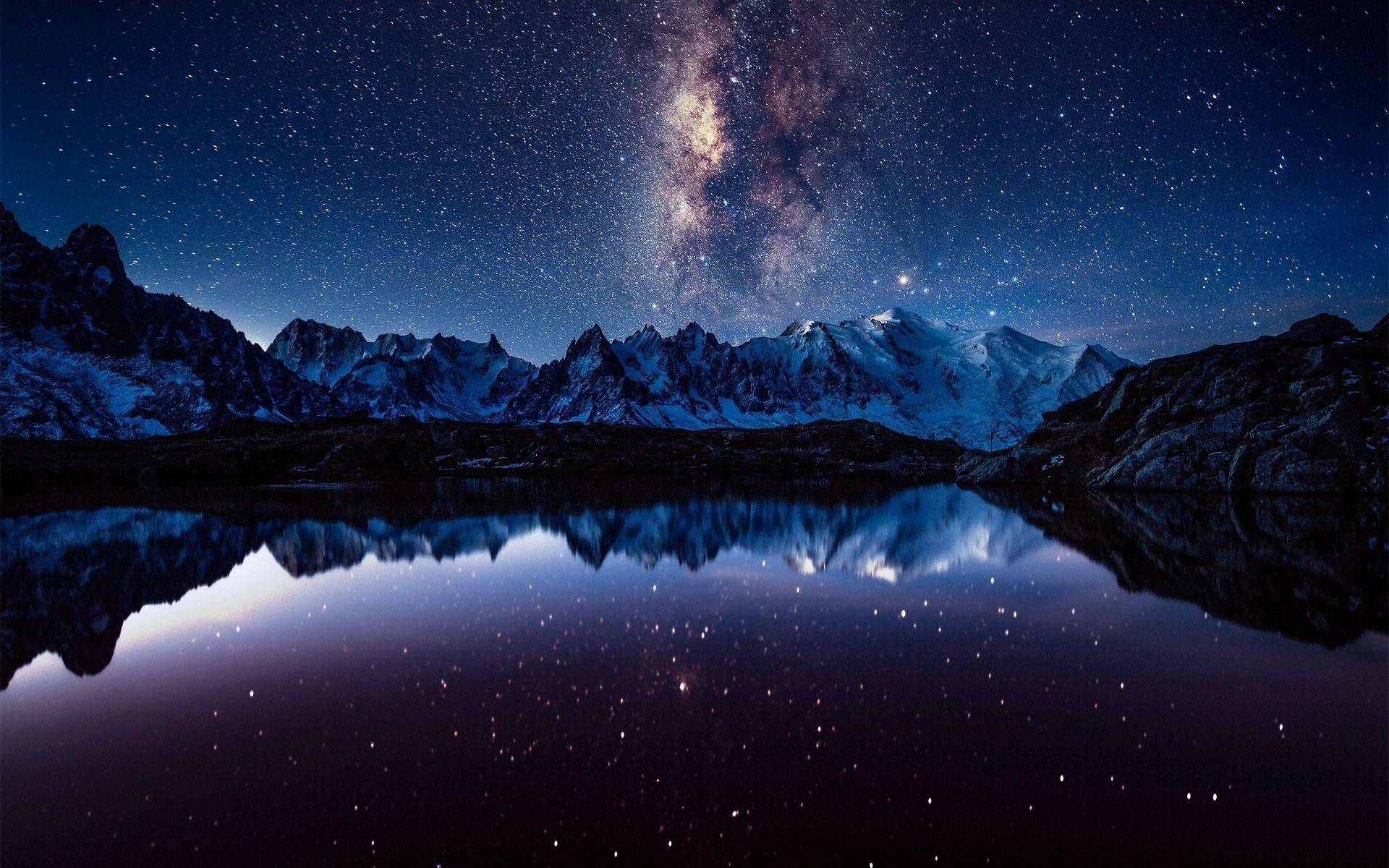 Скачать обои млечный путь, горы, ночь, звезды, небо, раздел пейзажи в разрешении 1920x1200