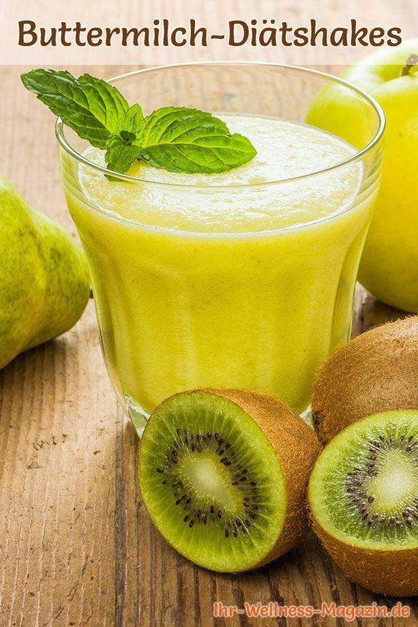Buttermilch-Shake mit Birne, Kiwi und Apfel - Diät-Shake-Rezept mit Buttermilch #fruitsmoothie