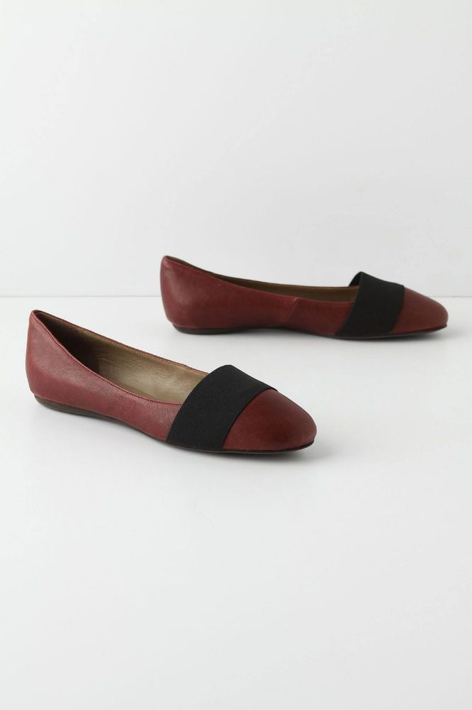 Anthropologie Aether's Flats 38, Wine Red Leather Ballerinas By Vera Gomma Italy #VeraGomma #BalletFlats #WeartoWork