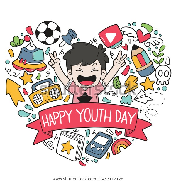 Hand Drawn Doodles Happy Youth Day เวกเตอร สต อก ปลอดค าล ขส ทธ 1457112128 Doodle Art How To Draw Hands Doodles