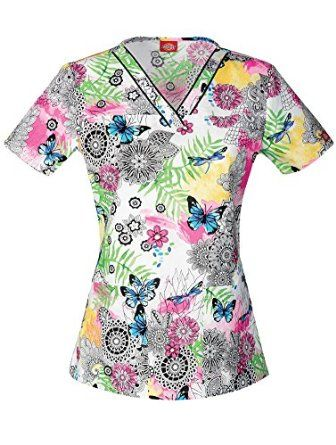 efa00e60831 Amazon.com: Everyday Scrubs Signature by Dickies Women's V-Neck Butterfly Print  Scrub Top: Clothing