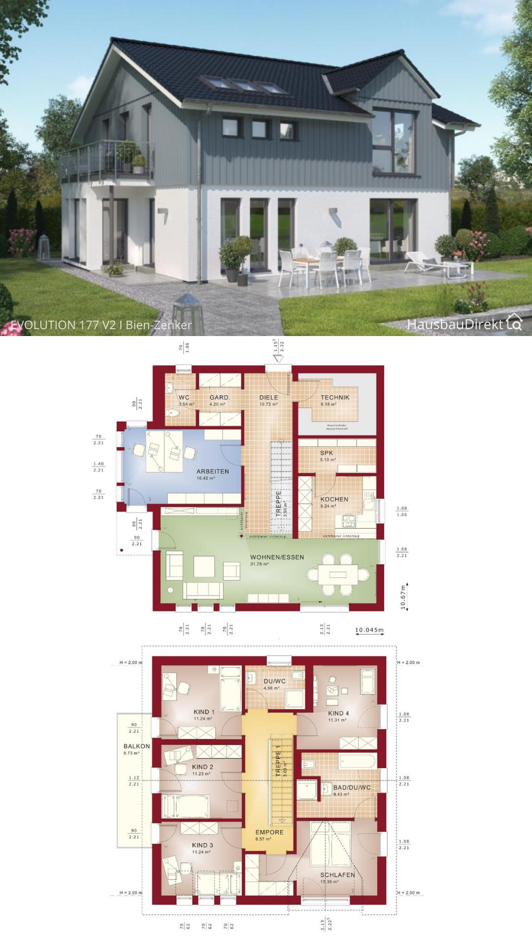 Modernes Haus im Landhausstil mit Satteldach & Holz Putz bauen, Einfamilienhaus Grundriss 180 qm