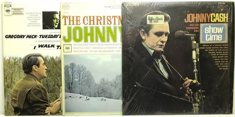 Johnny Cash LP Vinyl Record Album Lot Show Time + The Christmas ...