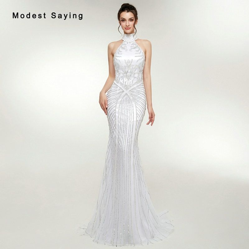 Ball Gowns. Formal Gowns. Gown. Find More Evening Dresses Information about Luxury  Mermaid High Collar Beaded Sparkly Evening Dresses 2018 with 9f943c0f6c35