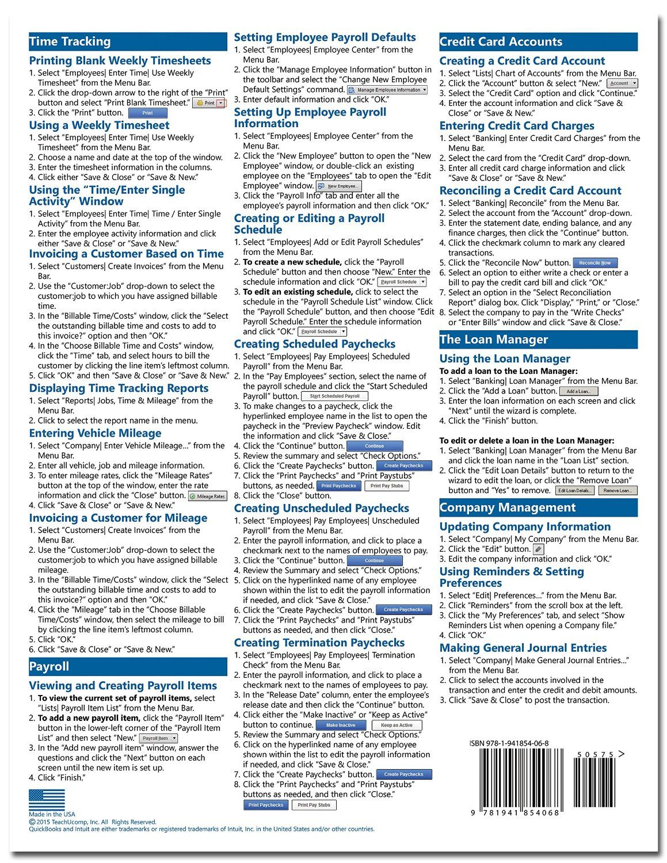 Quickbooks Pro 2016 Quick Reference Training Card Laminated