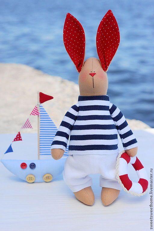 Морской зайчик - тёмно-синий,белый,красно-белый,морячок,море,морской,морская тема