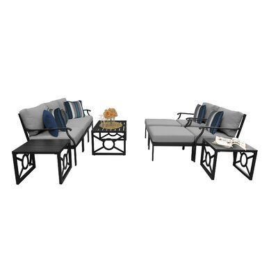 Kathy Ireland Home & Gardens by TK Classics Kathy Ireland Homes & Gardens Madison Ave. 10 Piece Outdoor Wicker Patio Furniture Set 10c Cushion Color:
