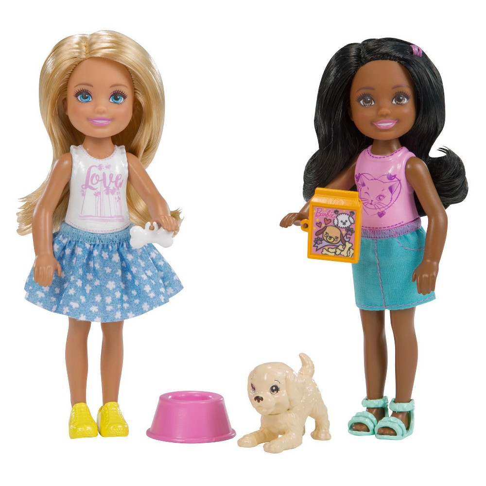 Barbie Chelsea Dolls and Puppy Playset #dollcare