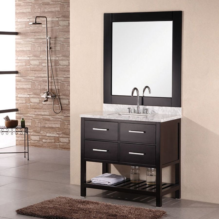 Shop Design Element London Espresso Undermount Single Sink Oak Bathroom Vanity with Natural Marble Top (Common: 36-in x 22-in; Actual: 36.25-in x 22-in) at Lowes.com