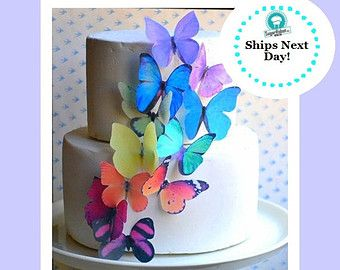 Edible Butterflies Large Rainbow Assortment Butterfly Cake Etsy Butterfly Birthday Cakes Edible Cake Decorations Edible Butterfly