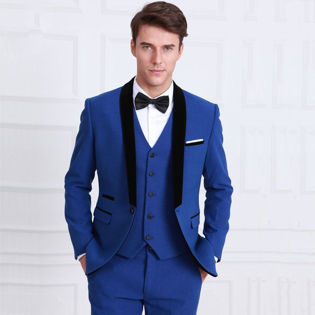 Classic Style One Button Royal Blue Groom Tuxedos Groomsmen Men\'s ...