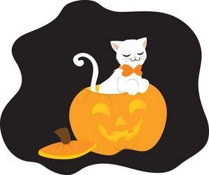 halloween cat clipart image clip art illustration of a white cat rh pinterest co uk happy halloween cat clipart halloween cat clipart png