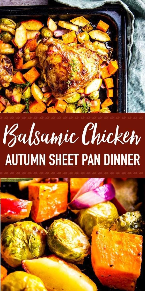 This Balsamic Glazed Chicken Sheet Pan Dinner is full of healthy vegetables. It's quick and easy to prep and the kids will love eating it. The sweet potato, apple, onion and Brussels sprouts taste delicious when roasted, and the chicken thighs turn out so juicy! You can even marinate it ahead of time for fast meal prep. | #recipe #chicken #chickendinner #dinnerrecipes #dinner #easyrecipes #familydinner #fallrecipesdinner