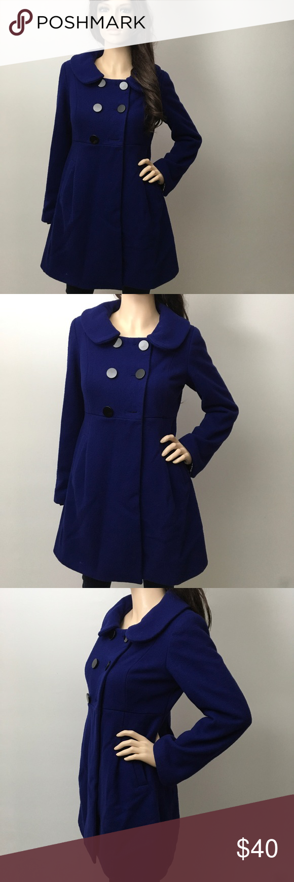 Adorable Double Breasted  Modern Dress Coat 💋 Other than that missing button this coat is in great condition. I do have the button so if your good at sewing you can reattach it. 😄 Sequin Hearts Jackets & Coats