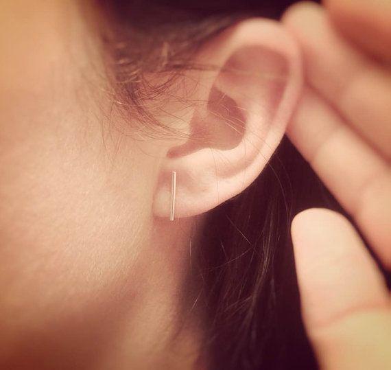 4d189e4d1 Minimalist Line Earrings,Bar Earrings,Silver Bar Earrings,T Earrings,Line  Earrings,Tiny Bar Earrings,Modern Chic,Dash Studs,Simple Earrings