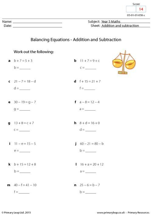 PrimaryLeap.co.uk - Balancing Equations - Multiplication and ...