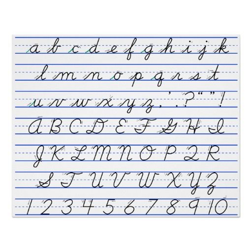English Alphabet Diagram In Cursive Handwriting Poster Zazzle.com In 2021  Handwriting Alphabet, Learn Handwriting, Cursive Handwriting