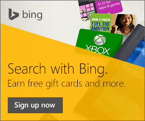 Bing Rewards: Earn extra money (Gift cards to amazon, Starbucks, Toys R Us, burger king, applebees, ihop and more) in time for the holidays by searching on Bing.com. Use http://www.bing.com/explore/rewards?PUBL=REFERAFRIEND&CREA=RAW&rrid=_2f31a0a2-08c7-6285-a8f6-3eef43375c40