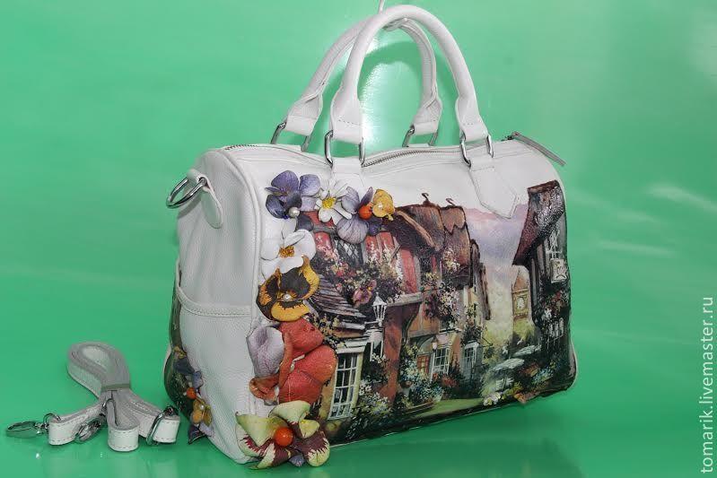 сумка белая ФЛОРИДА из натуральной кожи - рисунок,белый,летняя сумка