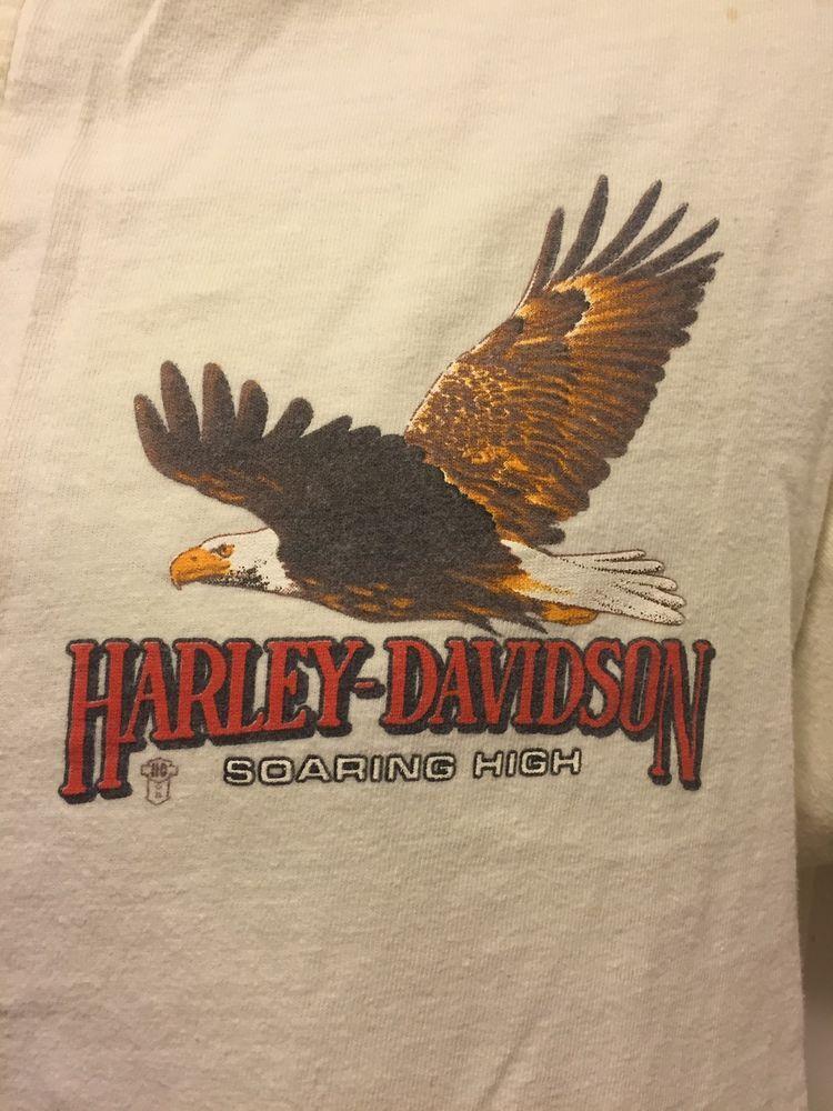 Vintage 80 S Harley Davidson R K Stratman Eagle Off White Biker T Shirt Lrg Motorrad Kunst Vintage Motorrad