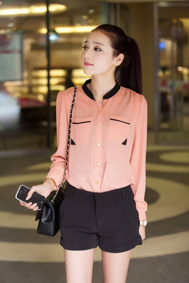 bddf6cb78 Sweet Style Stand Collar Long Sleeves Color Block Pocket Embellished  Chiffon Shirt For Women (WHITE