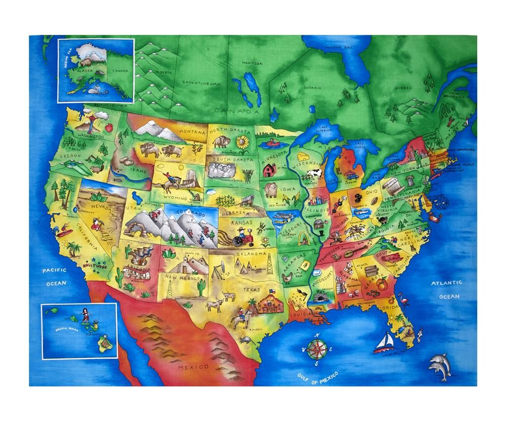 Map of the United States 355 Panel Multi Brown shades Orange