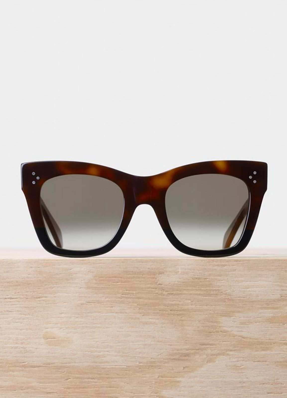 4306d6d68793 Catherine Sunglasses in Havana and Black Acetate with Brown Shaded Lenses