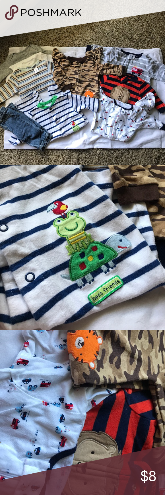 Baby boys long sleeve bundle 0-3mnth bundle 3 long sleeve onesies,4 sleepers,1 pair jeans and one footless button up one piece. Carters, circo, Gerber, child of mine Other