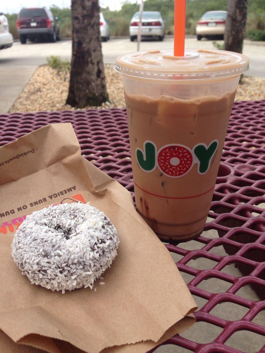 Joy is a chocolate coconut donut and a mocha ice coffee