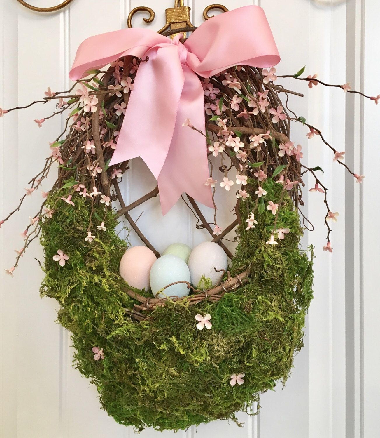 Easter Egg Door Basket, Easter Egg Wreath, Spring Wreath, Pink Easter Wreath, Pastel Easter Basket, Easter Decoration, Front Door Wreath by CelebrateAndDecorate on Etsy https://www.etsy.com/listing/183828749/easter-egg-door-basket-easter-egg-wreath